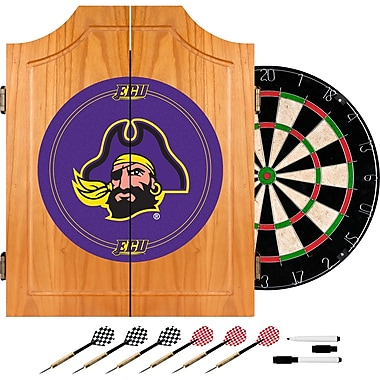Trademark Global® Solid Pine Dart Cabinet Set, NCAA East Carolina University