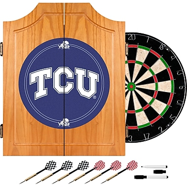 Trademark Global® Solid Pine Dart Cabinet Set, NCAA Texas Christian University