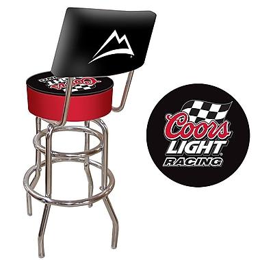 Trademark Global® Vinyl Padded Swivel Bar Stool With Back, Black, Coors Light Racing