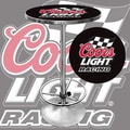 Trademark Global® 28in. Solid Wood/Chrome Pub Table, Black, Coors Light Racing