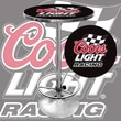 "Trademark Global® 28"" Solid Wood/Chrome Pub Table, Black, Coors Light Racing"
