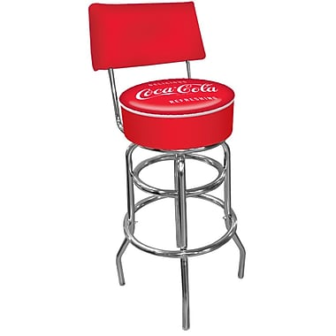 Trademark Global® Vinyl Padded Swivel Bar Stool With Back, Red, Coca Cola® Vintage Pub