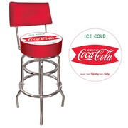 Trademark Global® Vinyl Padded Swivel Bar Stool With Back, Red, Vintage Coca-Cola Coke Pub Stool