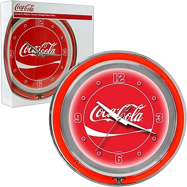 Trademark Global® Chrome Dynamic Ribbon Analog Neon Wall Clock, Coca-Cola®