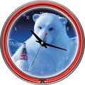 Trademark Global® Chrome Double Ring Polar Bear With Coke Bottle Analog Neon Wall Clock, Coca-Cola®