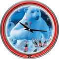 Trademark Global® Chrome Double Ring Polar Bears With Coke Bottle/Cubs Neon Wall Clock, Coca-Cola®