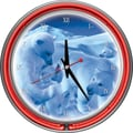 Trademark Global® Chrome Double Ring Polar Bears With Coke Bottle Nest Neon Wall Clock, Coca-Cola®