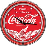 Trademark Global® Chrome Double Ring Analog Neon Wall Clock, Wings Coca-Cola®
