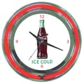 Trademark Global® Chrome Double Ring Analog Neon Wall Clock, Coca-Cola® Ice Cold Bottle