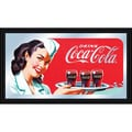 Trademark Global® 15in. x 26in. Coca-Cola Vintage Wood Framed Mirror, Horizontal Waitress W/Coke