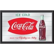"Trademark Global® 15"" x 26"" Coca-Cola Vintage Wood Framed Mirror, Horizontal Refreshing New Feeling"