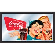 "Trademark Global® 15"" x 26"" Coca-Cola Vintage Wood Framed Mirror, Horizontal Couple Enjoying Coke"