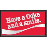 "Trademark Global® 15"" x 26"" Coca-Cola Vintage Wood Framed Mirror, Have a Coke and a Smile"