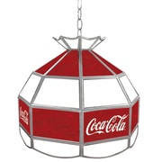 """Trademark Global® 16"""" Stained Glass Vintage Tiffany Lamp, Red/White, Coca Cola® Vintage"""
