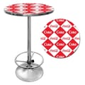 Trademark Global® 28in. Solid Wood/Chrome Pub Table, Red, Coca Cola® Checker