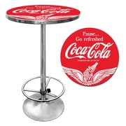 "Trademark Global® 28"" Solid Wood/Chrome Pub Table, Red, Coca Cola® Wings"