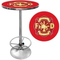 Trademark Global® 28in. Solid Wood/Chrome Pub Table, Red, Fire Fighter