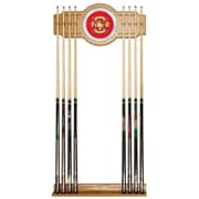 Trademark Global® Wood and Glass Billiard Cue Rack With Mirror, Fire Fighter