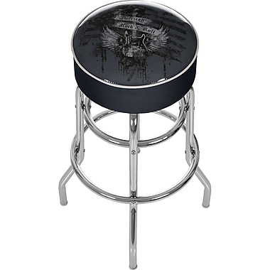Trademark Global® Vinyl Padded Swivel Bar Stool, Black, Fender American