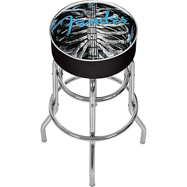 Trademark Global® Vinyl Padded Swivel Bar Stool, Black, Fender Ribcage
