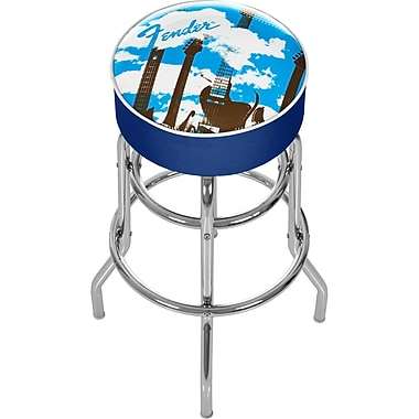 Trademark Global® Vinyl Padded Swivel Bar Stool, Blue, Fender Guitar in The Clouds