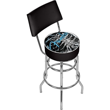 Trademark Global® Vinyl Padded Swivel Bar Stool With Back, Black, Fender Ribcage