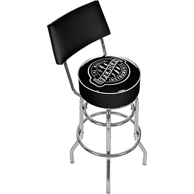 Trademark Global® Vinyl Padded Swivel Bar Stool With Back, Black, Fender Fine Musical Equipment