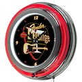 Trademark Global® Chrome Double Ring Analog Neon Wall Clock, Fender® Electro Lounge