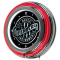 Trademark Global® Chrome Double Ring Analog Neon Wall Clock, Fender® Fine Musical Equipment