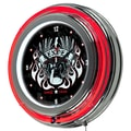 Trademark Global® Chrome Double Ring Analog Neon Wall Clock, Fender® Spirit of Rock and Roll