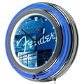 Trademark Global® Chrome Double Ring Analog Neon Wall Clock, Fender® Stacked