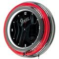 Trademark Global® Chrome Double Ring Analog Neon Wall Clock, Fender® Stratocasters Galore