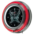 Trademark Global® Chrome Double Ring Analog Neon Wall Clock, Fender® Fine Wings to The Strat Ring