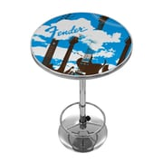 Trademark Global® 27.37 Solid Wood/Chrome Pub Table, Blue, Fender® Guitar In The Clouds