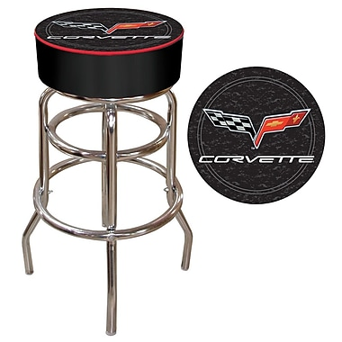 Trademark Global® Vinyl Padded Bar Stool, Black, Corvette C6