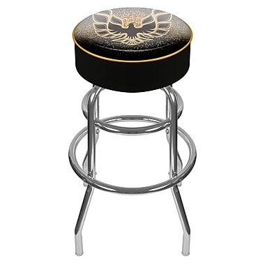 Trademark Global® Vinyl Padded Swivel Bar Stool, Black, Pontiac Firebird