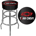 Trademark Global® Vinyl Padded Swivel Bar Stool, Black, Team Chevy Racing