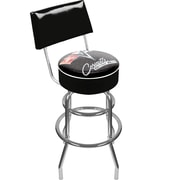 Trademark Global® Vinyl Padded Swivel Bar Stool With Back, Black, Corvette C2