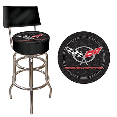 Trademark Global® Vinyl Padded Stool With Back, Black, Corvette C5