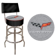 Trademark Global® Vinyl Padded Stool With Back, Black, Corvette C6