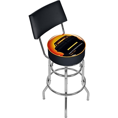Trademark Global® Vinyl Padded Swivel Bar Stool With Back, Black, Pontiac GTO Time & Distance