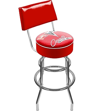 Trademark Global® Vinyl Padded Swivel Bar Stool With Back, Red, Corvette C2