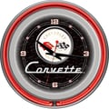 Trademark Global® Chrome Double Ring Analog Corvette C1 Neon Wall Clocks