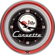 Trademark Global® Chrome Double Ring Analog Neon Wall Clock, Corvette C1, Black