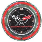 Trademark Global® Chrome Double Ring Analog Neon Wall Clock, Corvette C5, Black