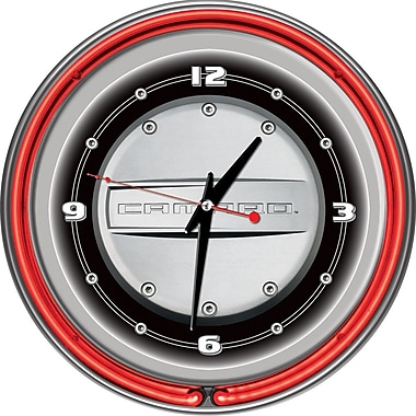 Trademark Global® Chrome Double Ring Analog Neon Wall Clock, Chevrolet Camaro