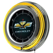 Trademark Global® Chrome Double Ring Analog Neon Wall Clock, Chevrolet Chevy