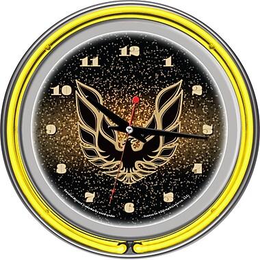Trademark Global® Chrome Double Ring Analog Neon Wall Clock, Pontiac Firebird, Black
