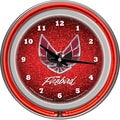 Trademark Global® Chrome Double Ring Analog Neon Wall Clock, Red, Pontiac Firebird
