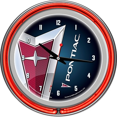 Trademark Global® Chrome Double Ring Analog Neon Wall Clock, Pontiac